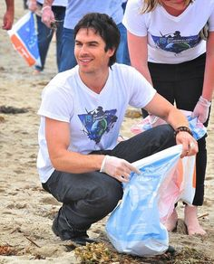 This is Ian Somerhalder being proud that I pick up trash.